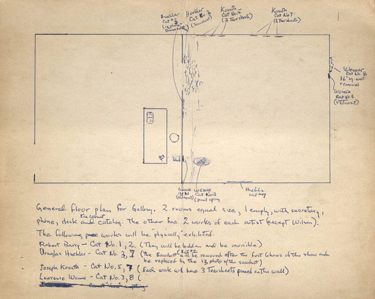 Seth Siegelaub's gallery floor plan for January 5–31, 1969