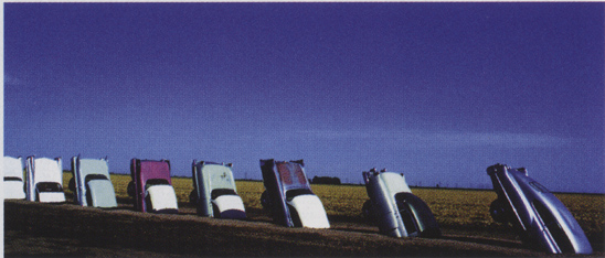 Ant Farm (Chip Lord, Hudson Marquez, and Doug Michaels), Cadillac Ranch, 1974, site-specific installation, Amarillo, TX. Courtesy of the University of California Press.