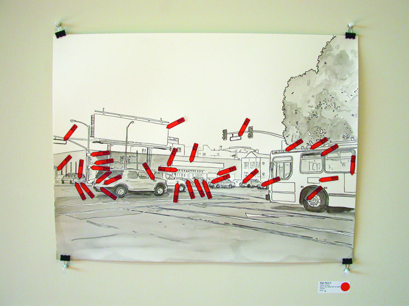 Sign Here, drawing with stickers, Steve Lambert, 2004